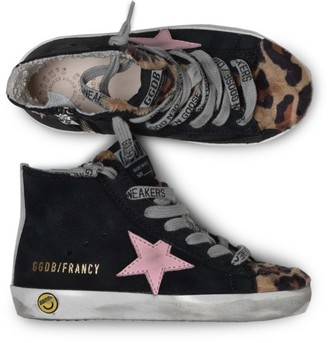 Golden Goose Girl's Francy Star-Embroidered Leopard Toe High-Top Sneakers
