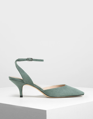Charles & Keith Square Toe Ankle Strap Heels