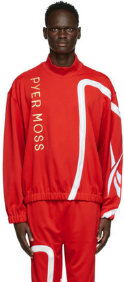 Reebok by Pyer Moss Red Loose Mock Neck Sweater