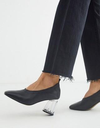 ASOS DESIGN Season leather mid-heels in black