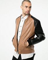 Le Château Colour Block Leather-Like Bomber Jacket