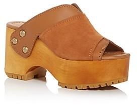 See by Chloe Women's Saya Peep-Toe Wedge Platform Clogs