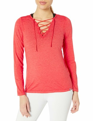 Andrew Marc Women's Long Sleeve Lace-up Front Tee