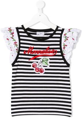 MonnaLisa striped cherry short sleeve top