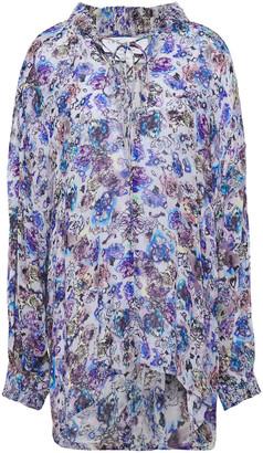 IRO Avon Lace-up Printed Gauze Blouse
