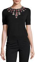 Catherine Malandrino Beaded-Neck Short-Sleeve Knit Top, Black
