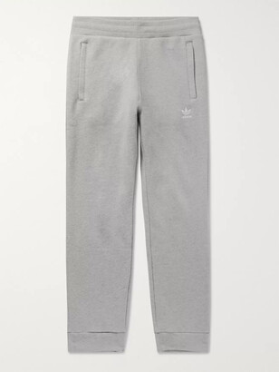 adidas Slim-Fit Tapered Logo-Embroidered Melange Loopback Cotton-Jersey Sweatpants