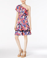 NY Collection Ruffled One-Shoulder Dress