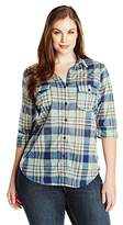 Paper + Tee Women's Plus-Size Johnny Collar Plaid Printed Top