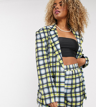 Collusion oversized blazer in blue and yellow check