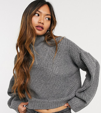 NATIVE YOUTH relaxed crop knitted jumper with half zip high neck