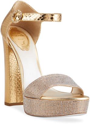 Rene Caovilla Satin Crystal Studded Platform Sandals