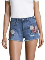 Design Lab Lord & Taylor Embroidered Floral Denim Shorts