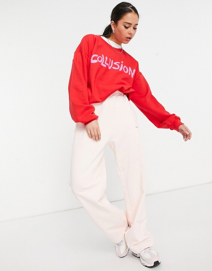Thumbnail for your product : Collusion oversized branded sweatshirt co-ord in red