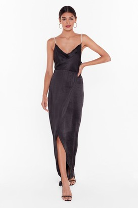 Nasty Gal Womens Studio Pearls Just Wanna Have Fun Maxi Dress - Black - 14