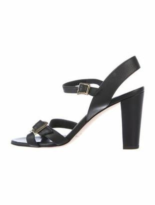 Manolo Blahnik Leather Slingback Sandals Black