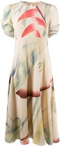 Etro silk ruched sleeve midi dress