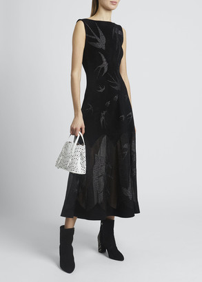 Alaia Bird Print Velvet Jacquard Sleeveless Midi Dress