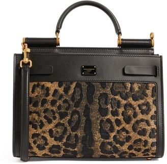 Dolce & Gabbana Leopard Print Small Sicily 62 Tote Bag