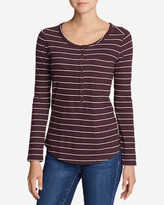 Eddie Bauer Women's Gypsum Long-Sleeve Henley Shirt - Stripe