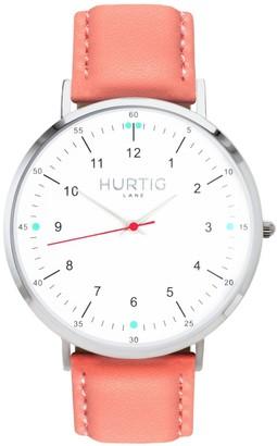 Hurtig Lane Moderna Vegan Leather Watch Silver, White & Coral