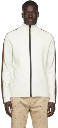 Fendi White Forever Tape Zip-Up Sweater