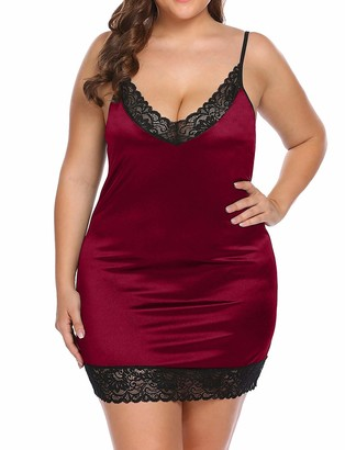 Dhlp Women's Plus Size Full Satin Slip Sexy Deep V -Neck Lace Chemise Nightie Adjustable Spaghetti Strap Strechy Lingerie Under Dress Intimate Red