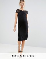 Asos Lace Bardot Midi Dress