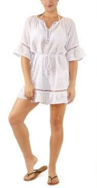 Miken Juniors' Belted Crochet-Trim Cover-Up, Created for Macy's Women's Swimsuit