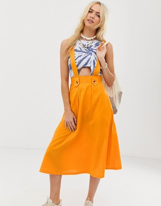Asos DESIGN full skirted pinafore midi skirt
