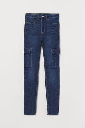 H&M Skinny High Cargo Jeans - Blue