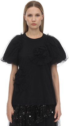 Simone Rocha RUFFLED FLOWER COTTON JERSEY T-SHIRT