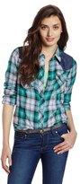 Levi's Women's Plaid Western Shirt with Denim Color Block Yoke