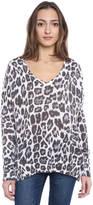 John & Jenn Snow Leopard V-Neck Pullover Sweater