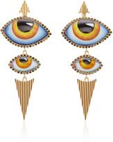 Lito 14K Gold Yellow Enamel Eye and Diamond Earrings