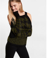 Express fuzzy houndstooth print cold shoulder sweater