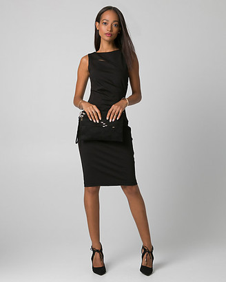 Le Château Ponte Boat Neck Pleated Shift Dress