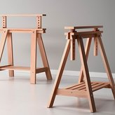 Ikea Beech Wood Desk Table Leg Trestle with Shelf , Height and Angle Adjustable , Also Great for Drafting Table Tops