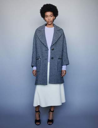 Maje Plaid coat with zipped pockets