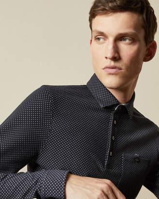 Ted Baker OUTOF Long sleeved micro print polo shirt
