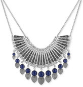 Lucky Brand Silver-Tone Ornamental Blue Stone and Dark Pavé Statement Necklace