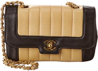 Chanel Black & Beige Lambskin Leather Border Tab Mini Single Flap Bag