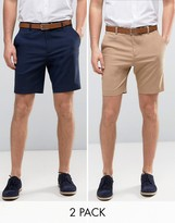 Asos 2 Pack Tailored Slim Shorts In Navy & Stone SAVE