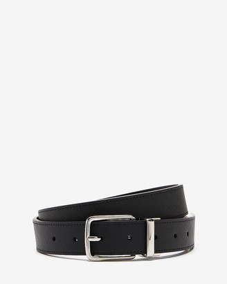Express Reversible Leather Polished Silver Prong Buckle Belt