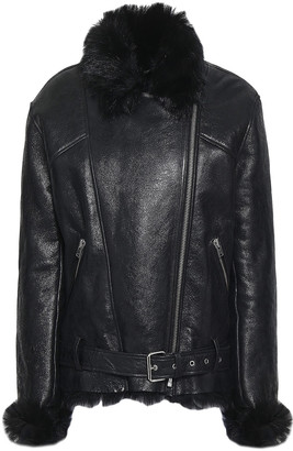 IRO Mantaa Shearling-lined Textured-leather Biker Jacket
