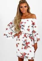 Pink Boutique Pucker Up White Multi Floral Bardot Tie Waist Mini Dress