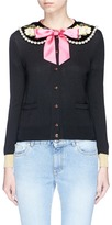Gucci Bow glass pearl floral embroidered collar cashmere-silk cardigan