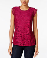 Maison Jules Flutter-Sleeve Crochet Lace Top, Only at Macy's