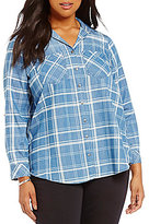 Intro Plus Plaid Denim Button-Front Chest Pocket Shirt