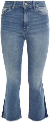 DL1961 Bridget Frayed High-rise Kick-flare Jeans